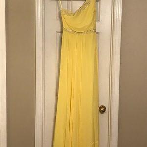 BCBGMaxaxaria one shoulder yellow gown